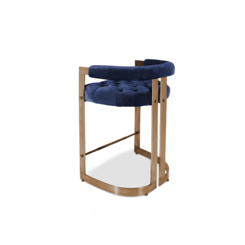 Winfrey Bar Chair in Blue Cotton Velvel and Brass