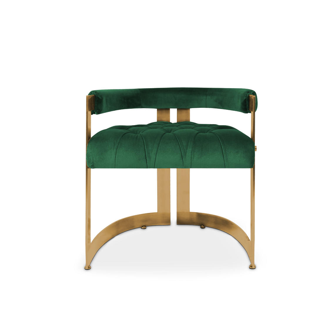 Winfrey Mid-Century Modern Dining Chair in classic green cotton velvet