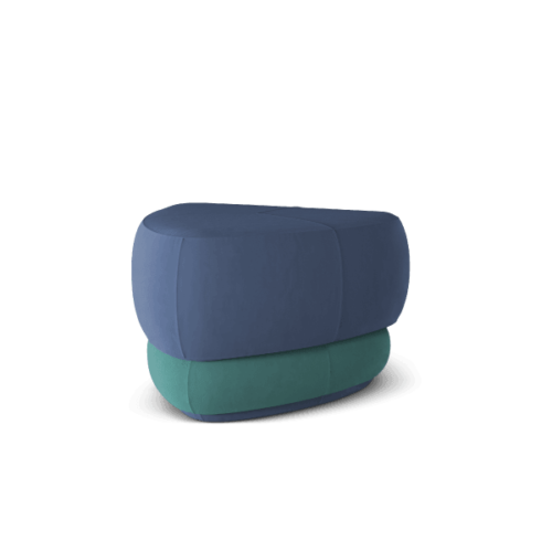 Abbe Mid-Century Contemporary Ottoman in blue and green cotton velvet
