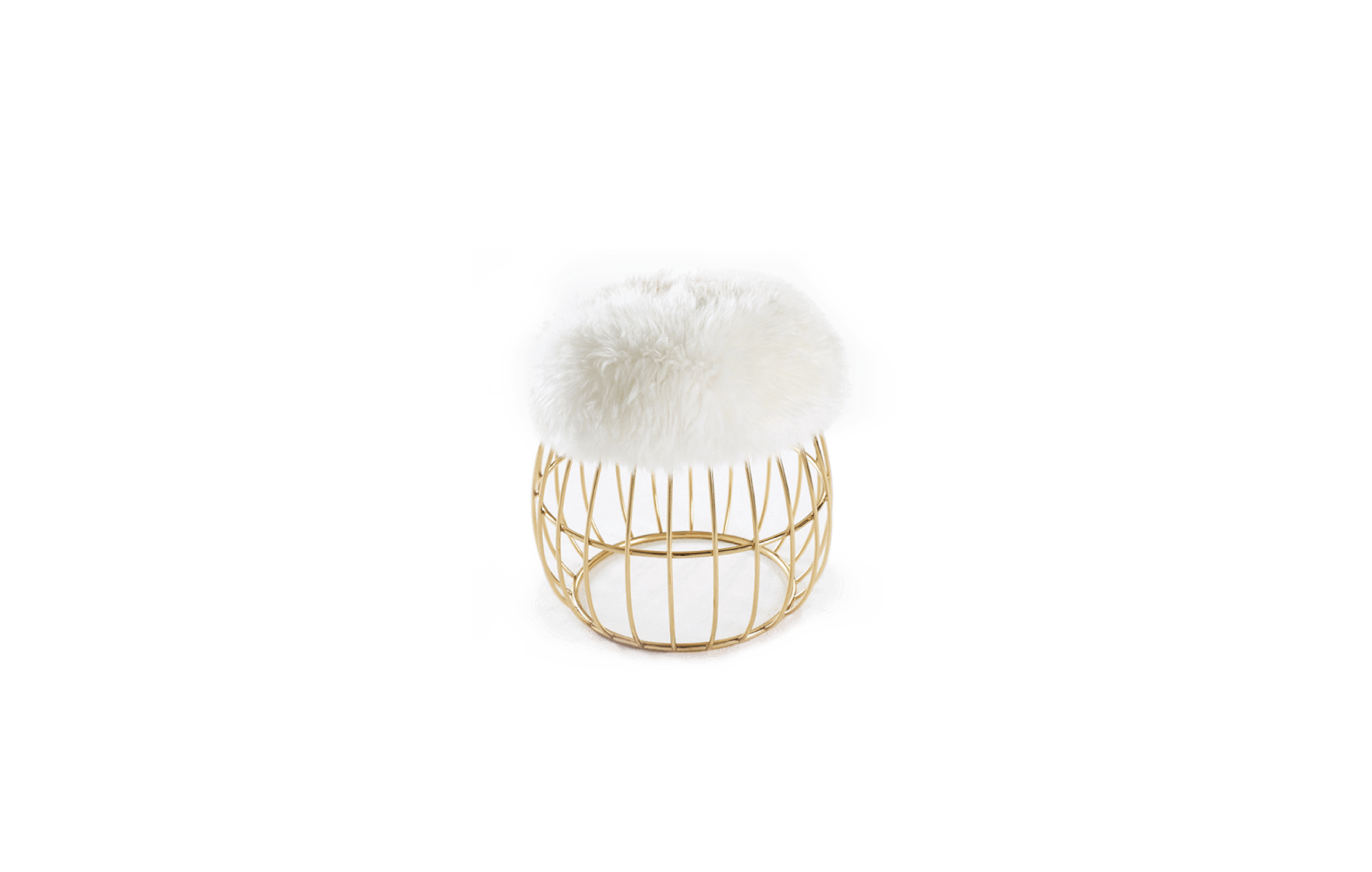 Andy Mid-Century Modern Stool in white sheepskin