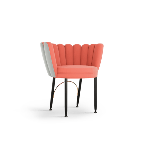 Angel Mid-Century Dining Chair in coral and grey cotton velvet
