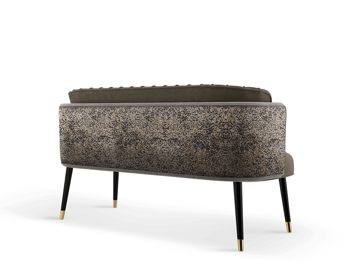 Anita Mid-Century Modern Twin Seat in brown and pattern cotton velvet