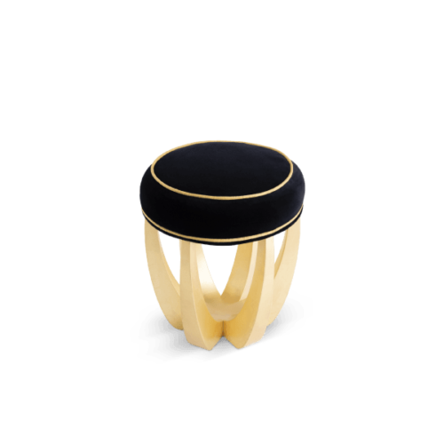 Betty Mid-Century Modern Stool in black and gold suede