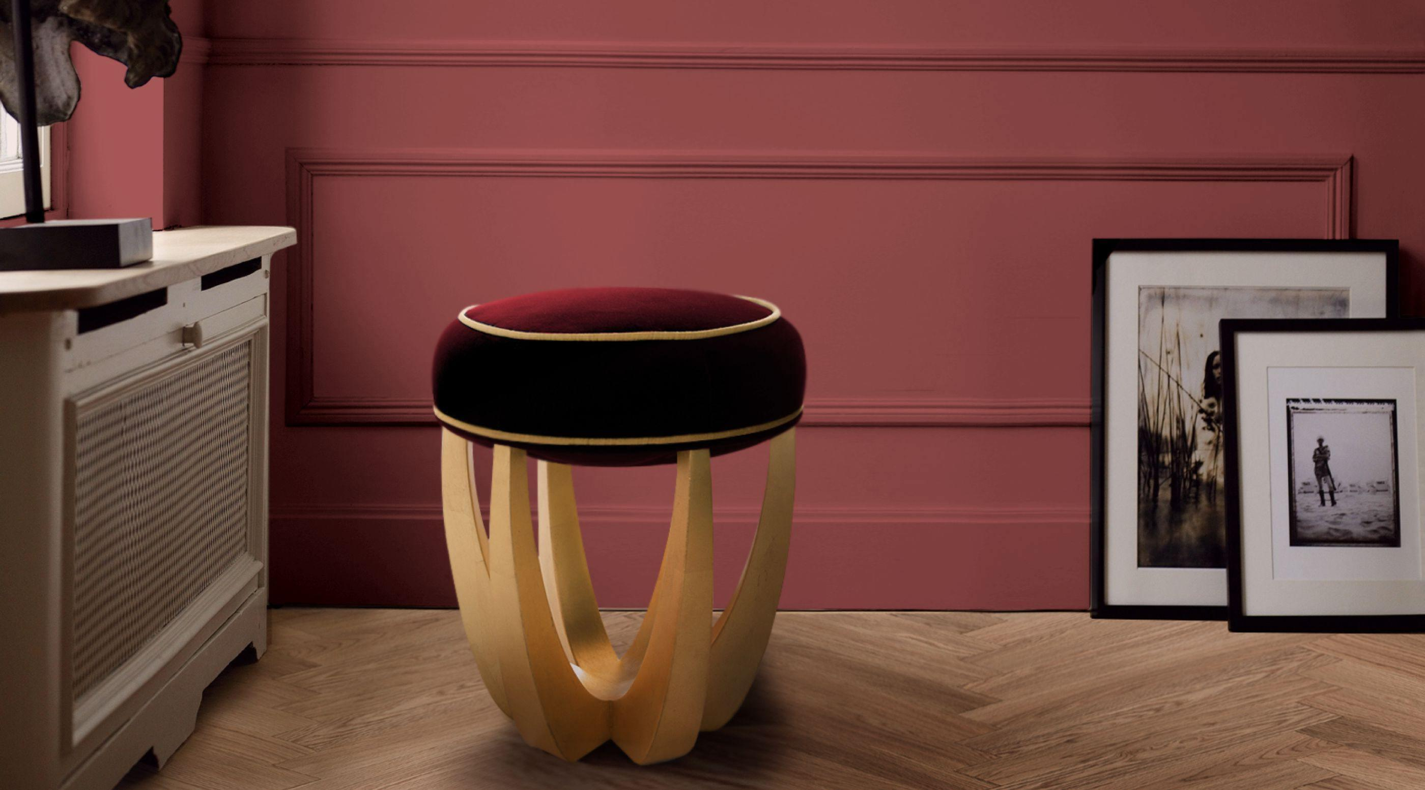 Betty Mid-Century Modern Stool in red and gold suede