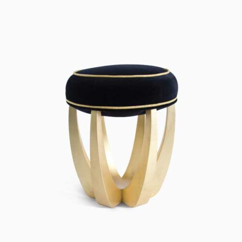 Charming Stools Betty Mid-Century Modern Stool in black and gold suede