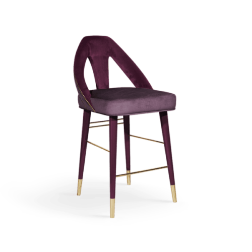 Caron Mid-Century Modern Bar Chair in purple cotton velvet