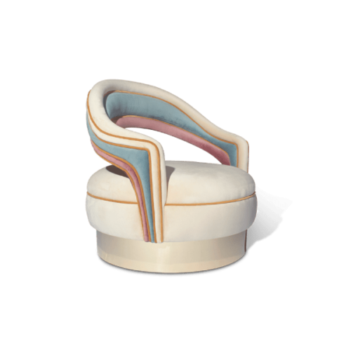 Charisse Mid-Century Modern Armchair in white, pink, blue and gold cotton velvet