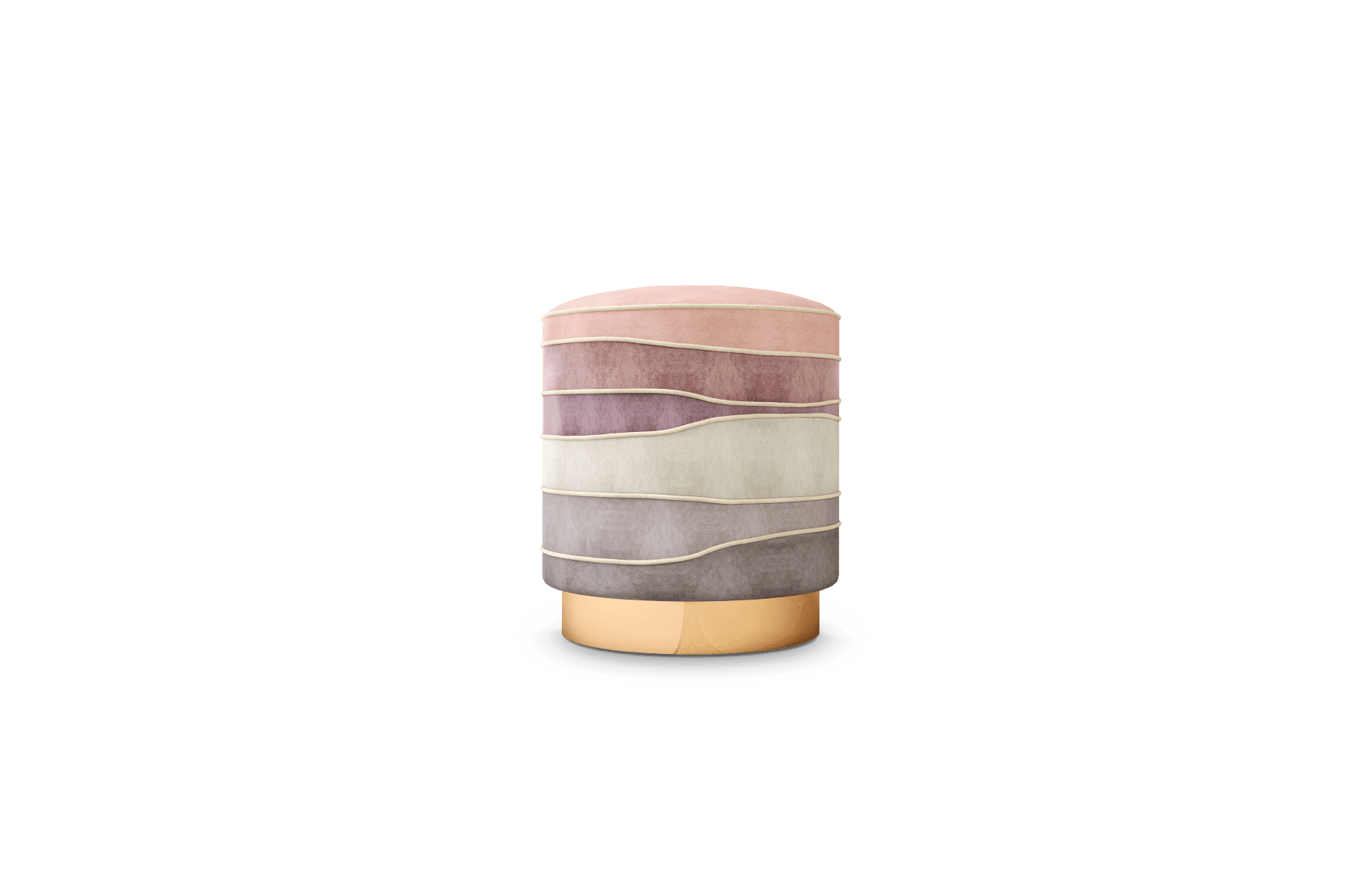 Charisse Mid-Century Modern Stool in pink, white and grey cotton velvet