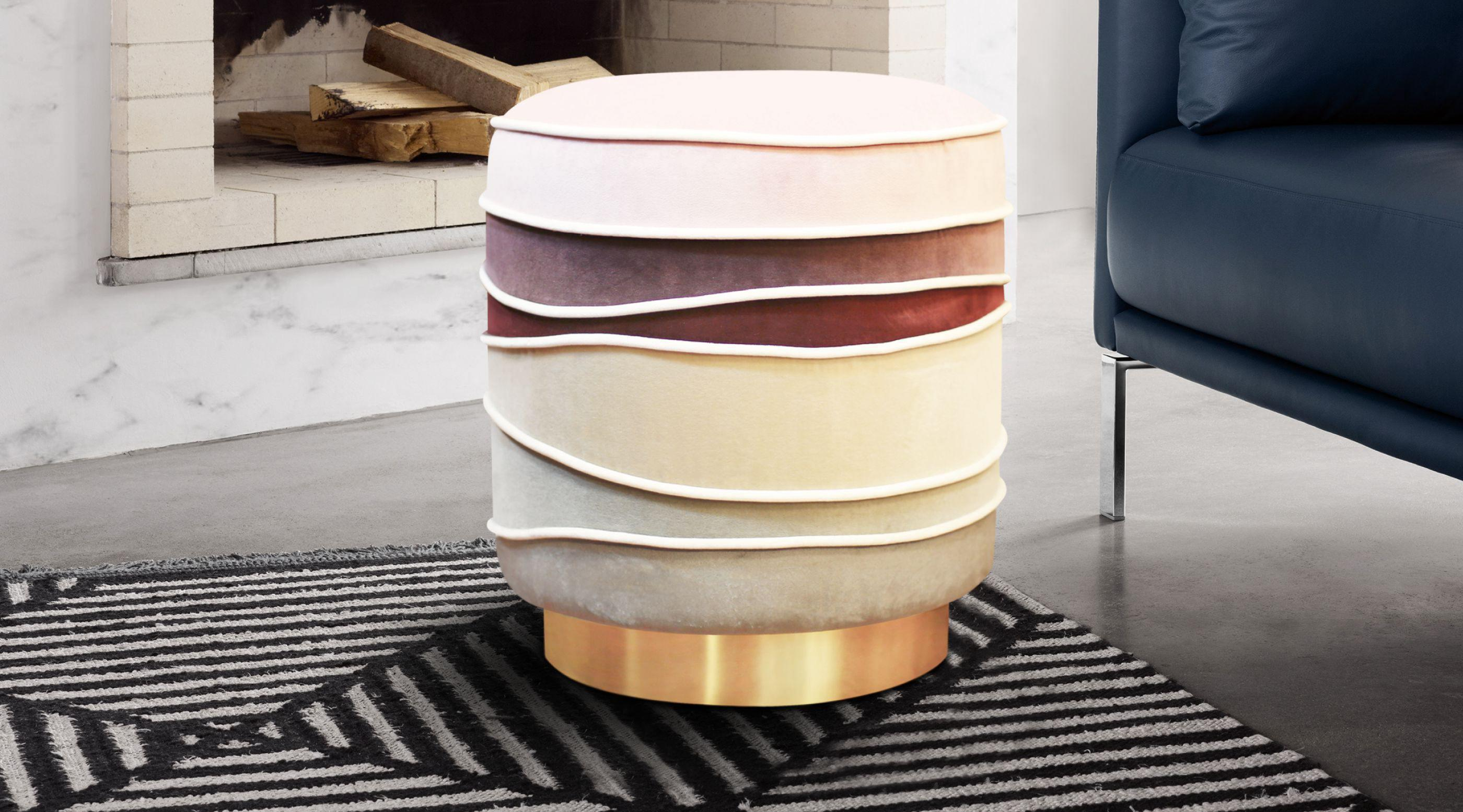 Charisse Mid-Century Modern Stool in pink, white, red and grey cotton velvet