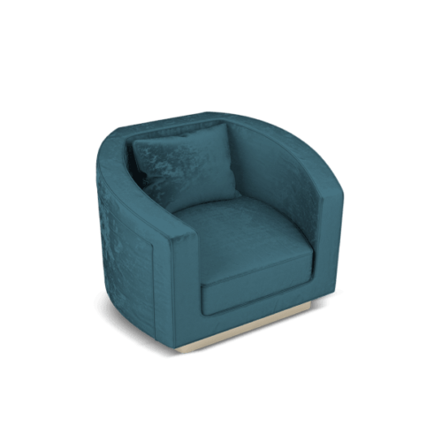 Debbie Mid-Century Modern Armchair in blue cotton velvet