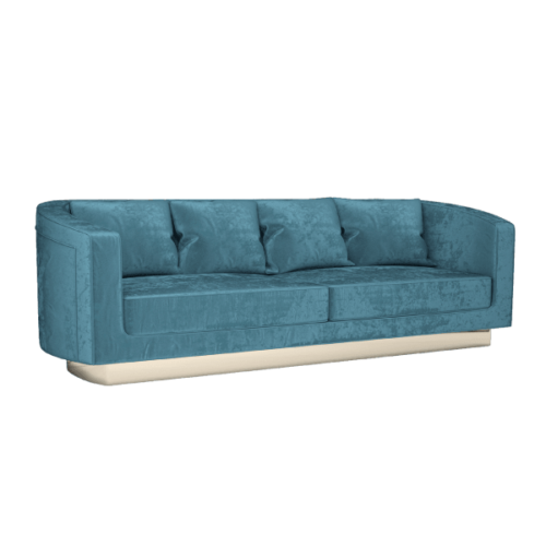 Debbie Mid-Century Modern Sofa in cobalt blue cotton velvet