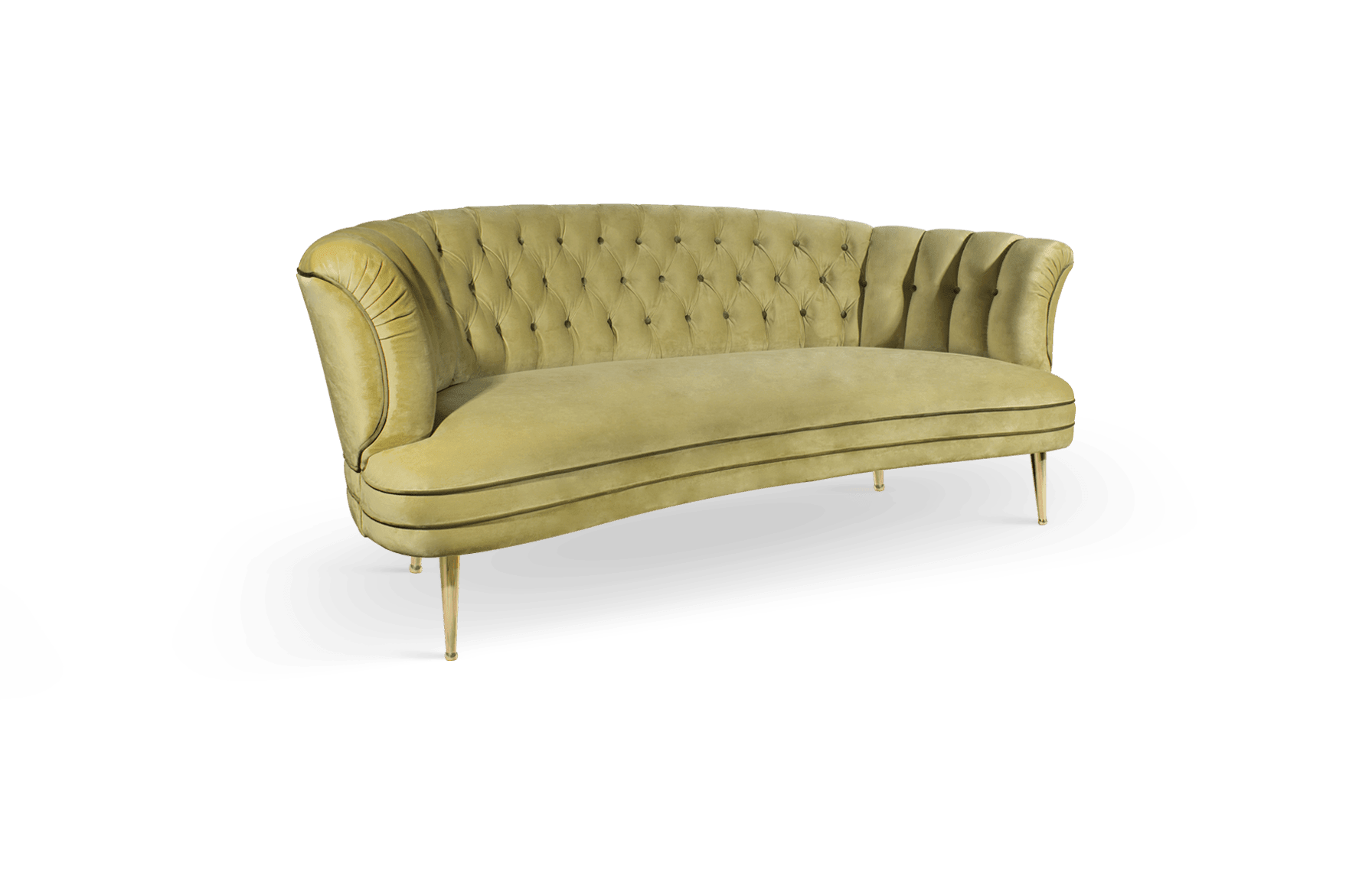 Diana Mid-Century Modern Sofa in mustad yellow cotton velvet