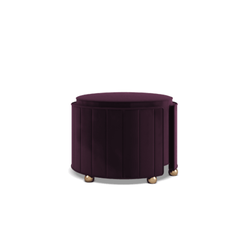 Donna Mid-Century Contemporary Ottoman in purple cotton velvet
