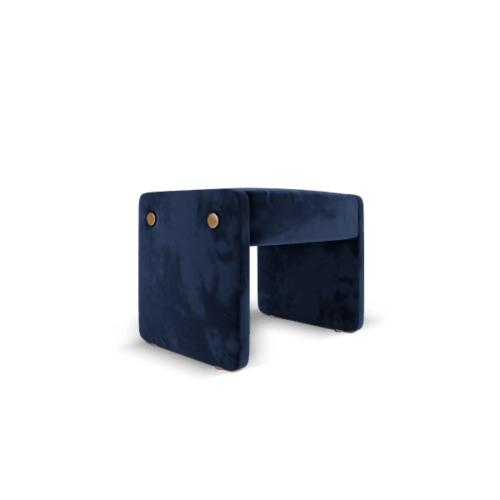 Elke Mid-Century Contemporary Ottoman classic blue cotton velvet