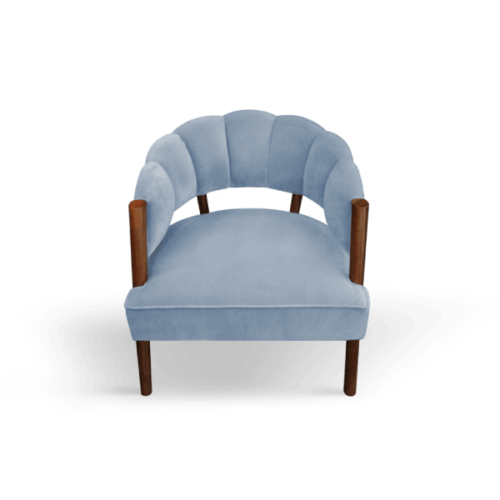 Ellen Mid-Century Modern Armchair in blue cotton velvet