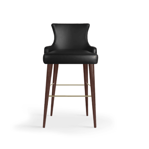 Gardner Mid-Century Modern Bar Chair in black leather
