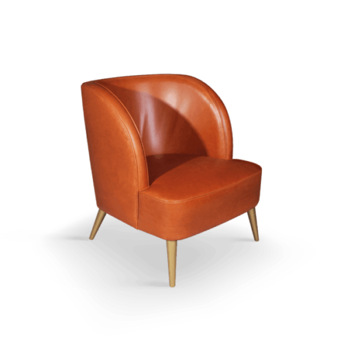 Godard Mid-Century Modern Armchair in orange leather