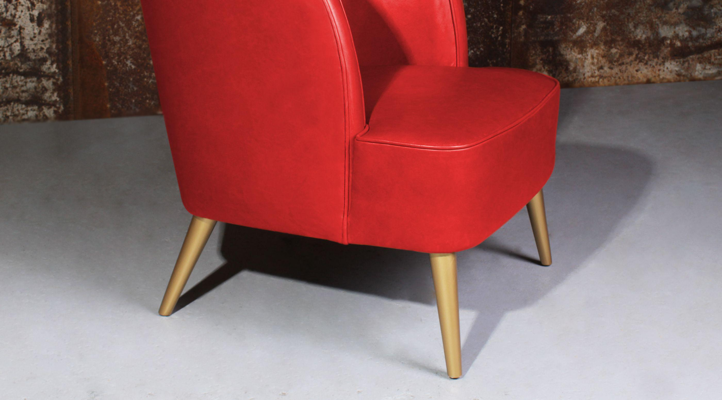 Godard Mid-Century Modern Armchair in living coral leather