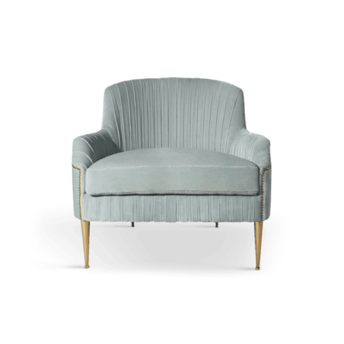 Greta Mid-Century Modern Armchair in green cotton velvet