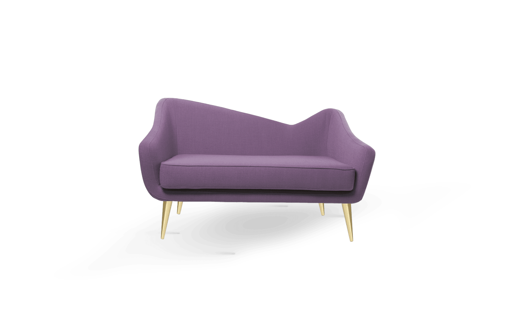 Hayworth Mid-Century Modern Twin Seat in purple cotton velver