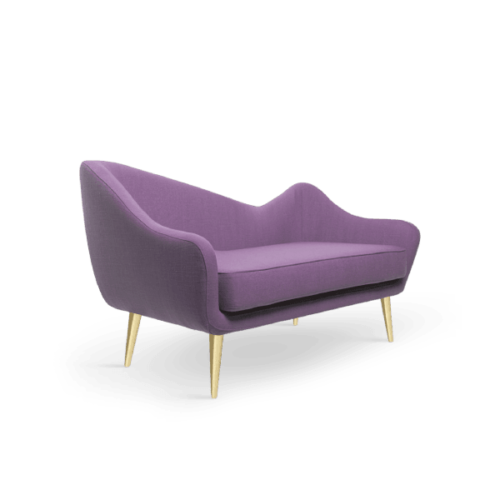 Hayworth Mid-Century Modern Twin Seat in blueberry purple cotton velver