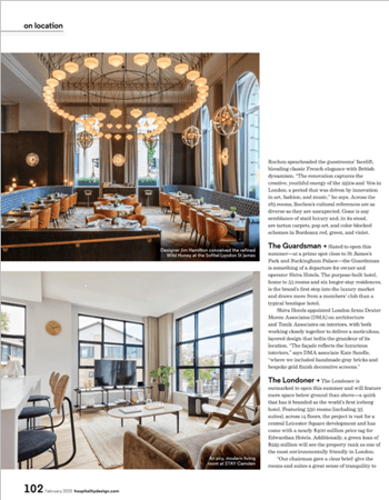 Louis Dining chair featured Hospitality Design Magazine