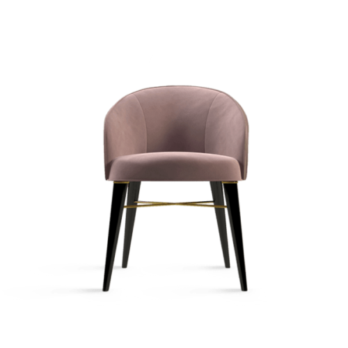 Ingrid Contemporary Dining Chair Pink Cotton Velvet