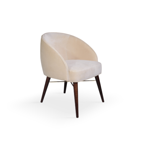 Ingrid Contemporary Dining Chair White Cotton Velvet