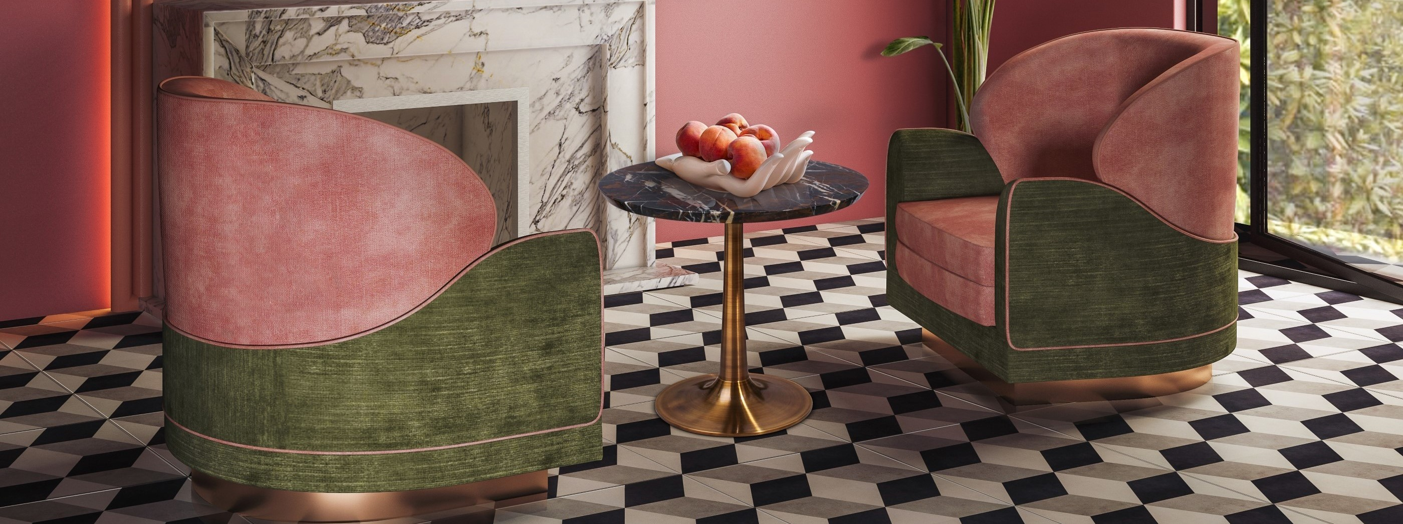 Jayne armchair with Jonathan Adler Eve Fruit Bowl