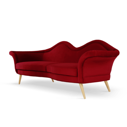 Jeane Mid-Century Modern Sofa in cherry red cotton velvet