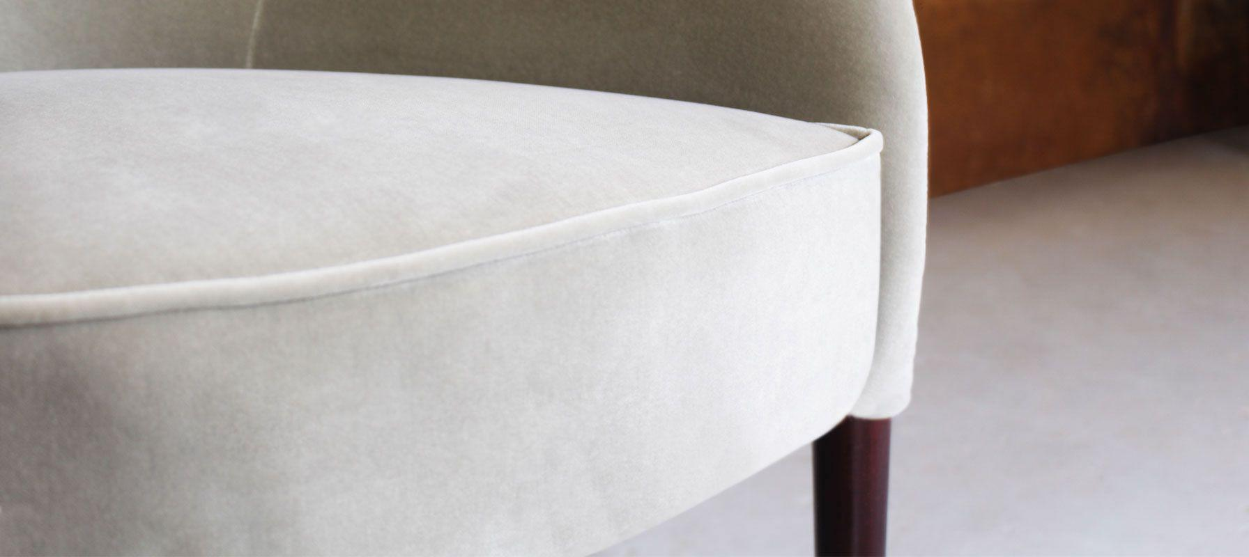 Joan Contemporary Dining Chair in White Velvet and Green leather