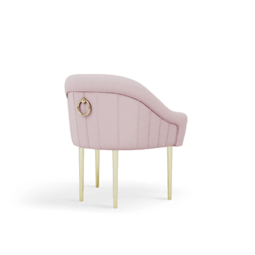 Katharina Mid-Century Modern Dining Chair in pink cotton velvet