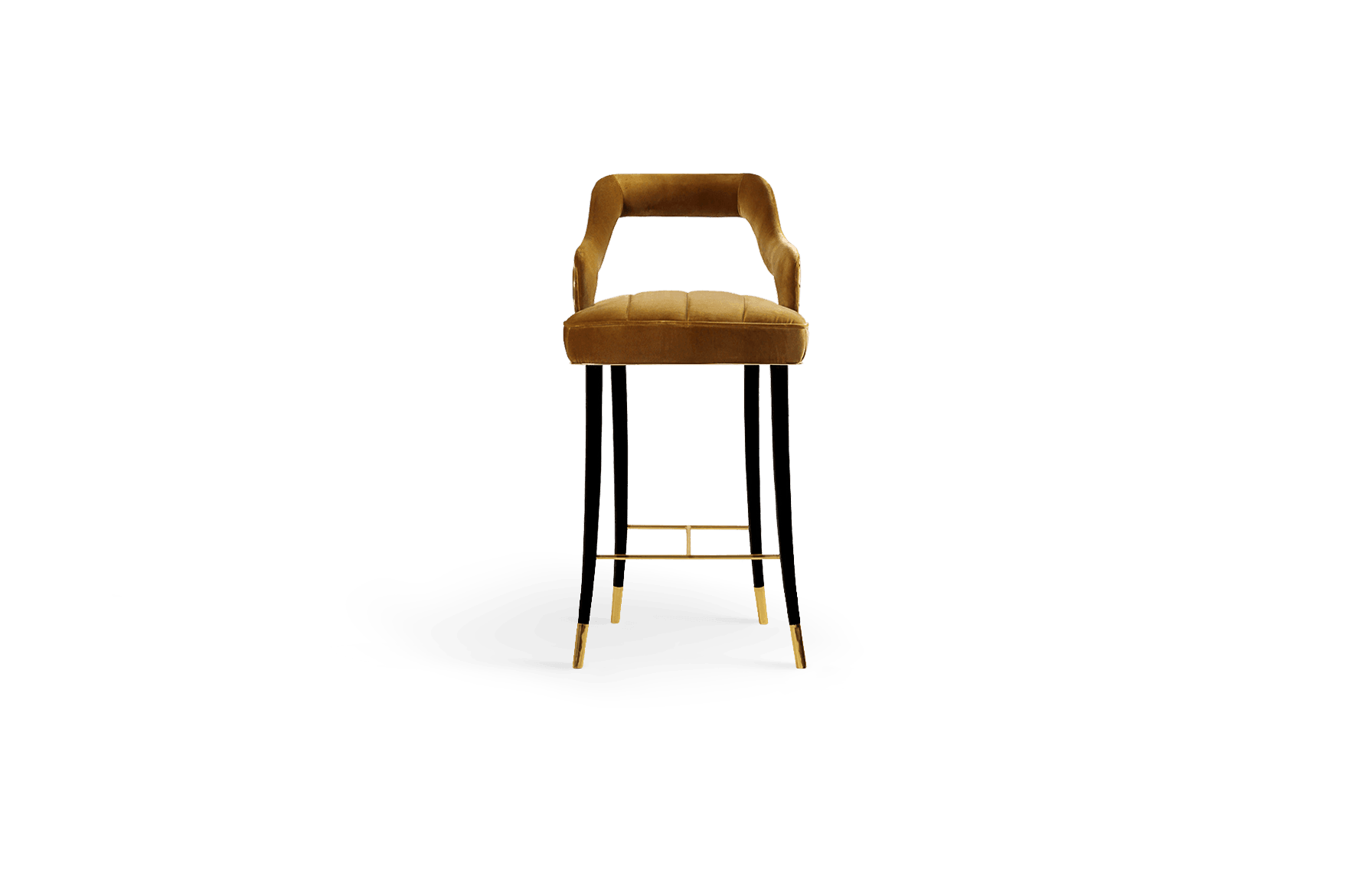 Kelly Mid-Century Modern Dining Chair in Yellow Cotton Velvet