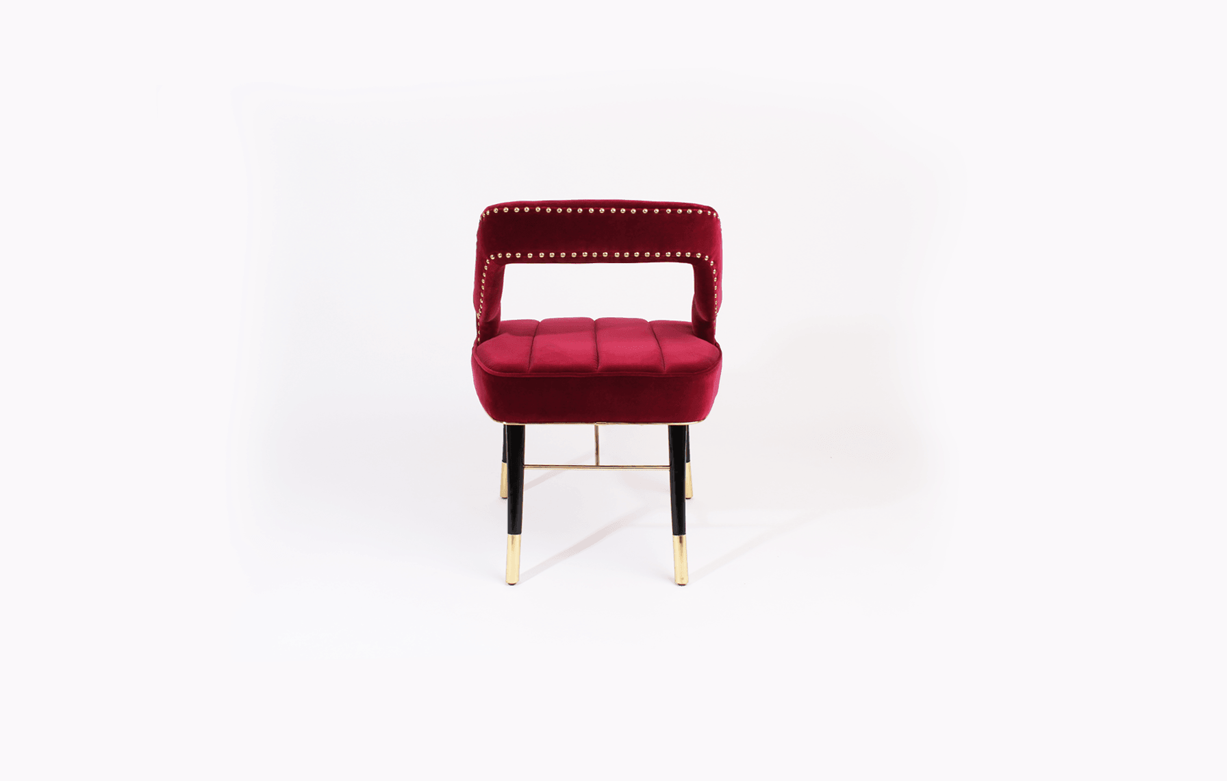 Kelly Mid-Century Modern Dining Chair in wine red cotton velvet