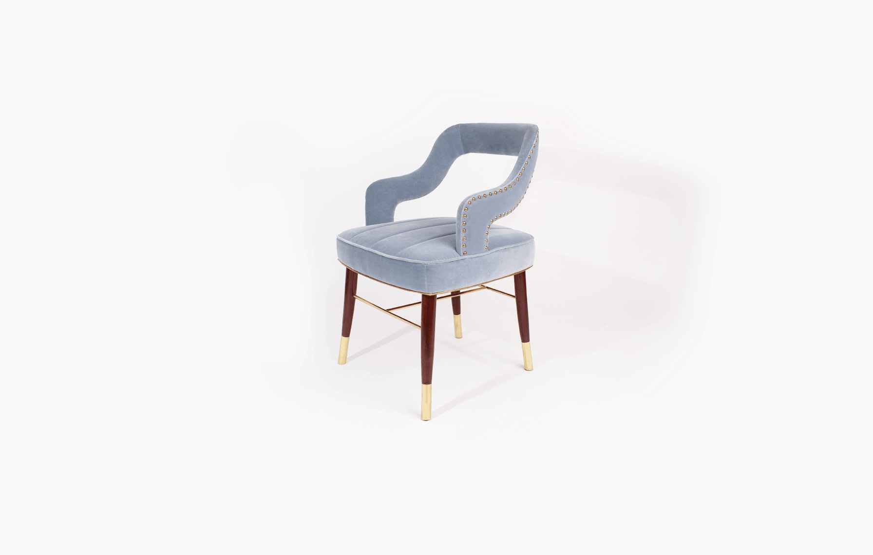Kelly Mid-Century Modern Dining Chair in blue cotton velvet