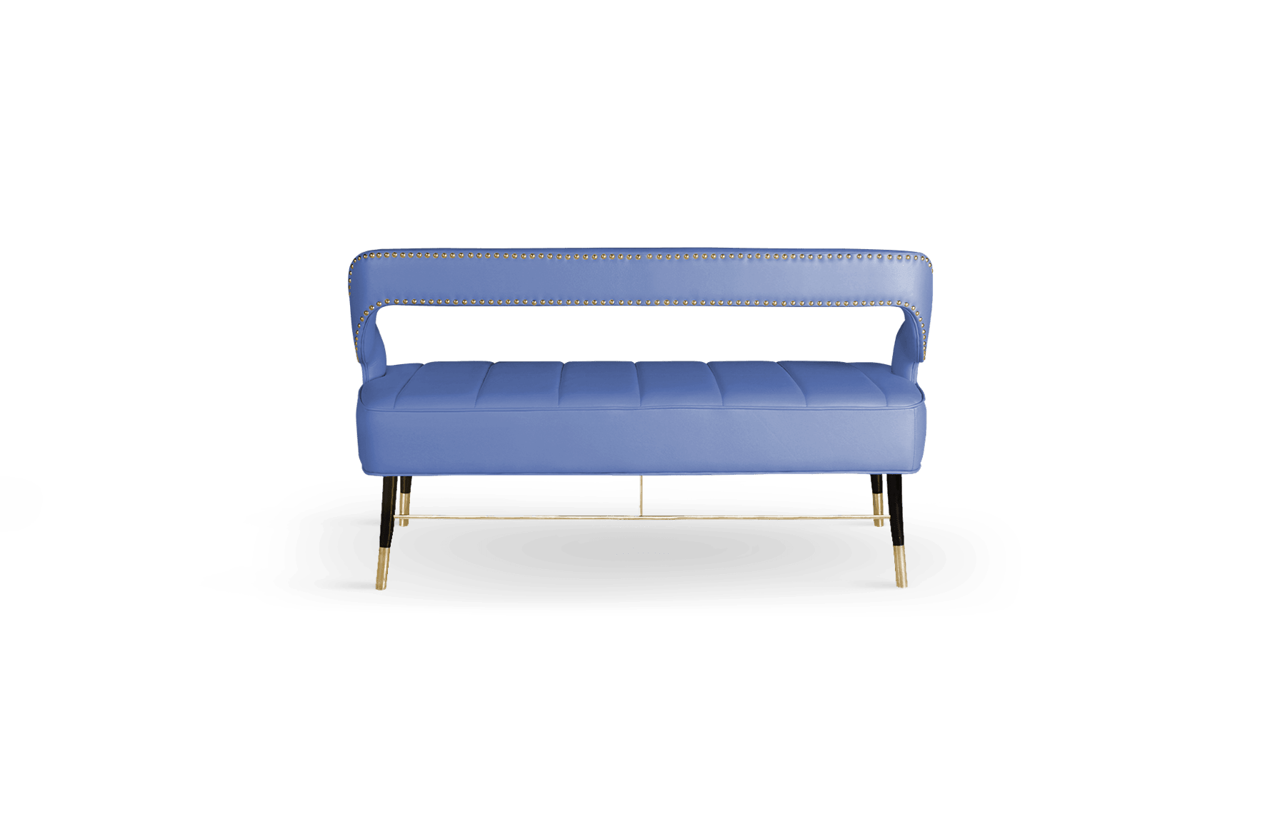 Kelly Mid-Century Modern Twin Seat in blue cotton velver