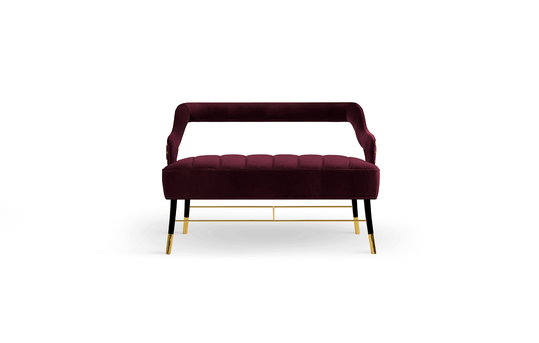 Kelly Mid-Century Modern Twin Seat in wine red cotton velvet