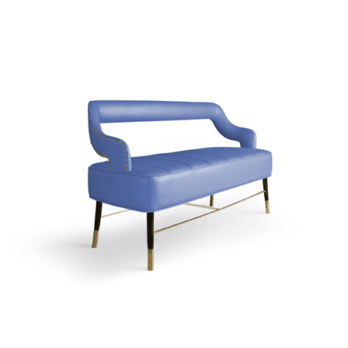 Kelly Mid-Century Modern Twin Seat in cerulean blue cotton velver