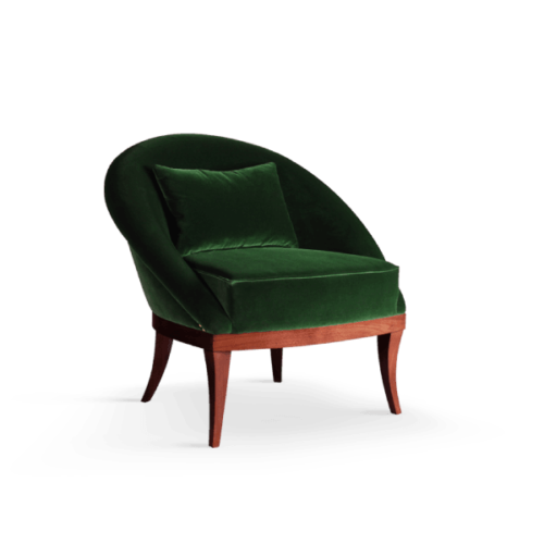 Kim Mid-Century Modern Armchair in green cotton velvet