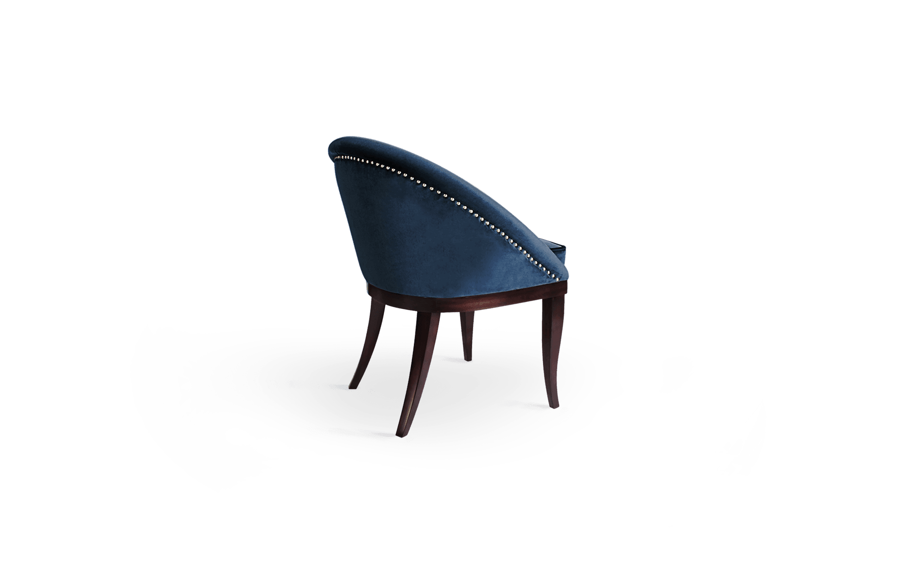 Kim Mid-Century Modern Dining Chair in blue cotton velvet