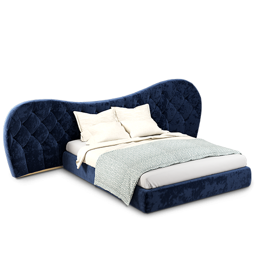 Mid-Century Modern Linda Bed with classic blue linen