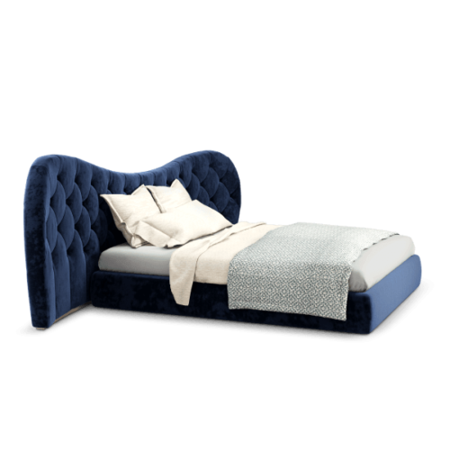 Linda Mid-Century Modern Bed with classic blue linen