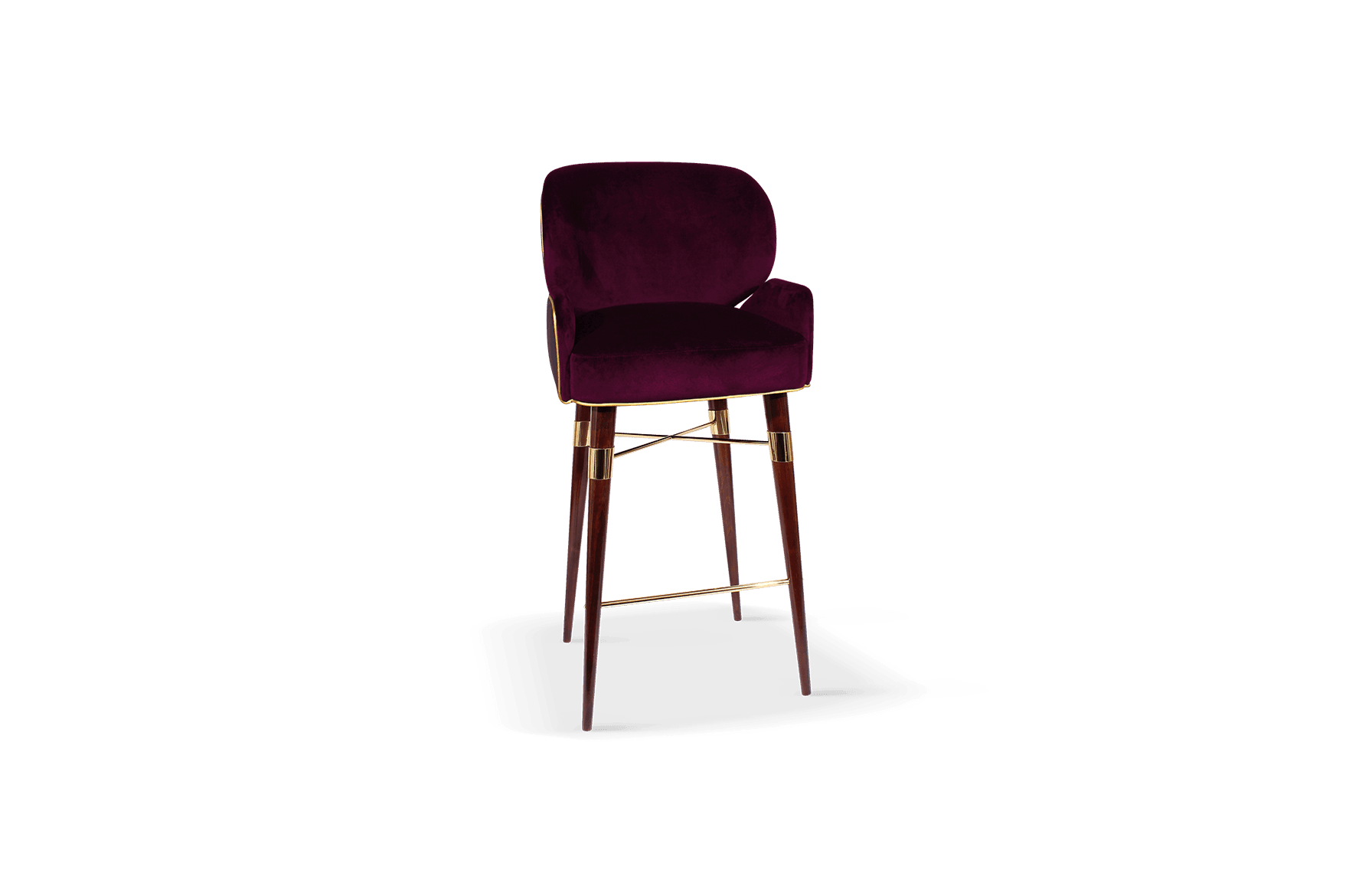 Louis I Mid-Century Bar Chair front in blue cotton velted and gold pipping