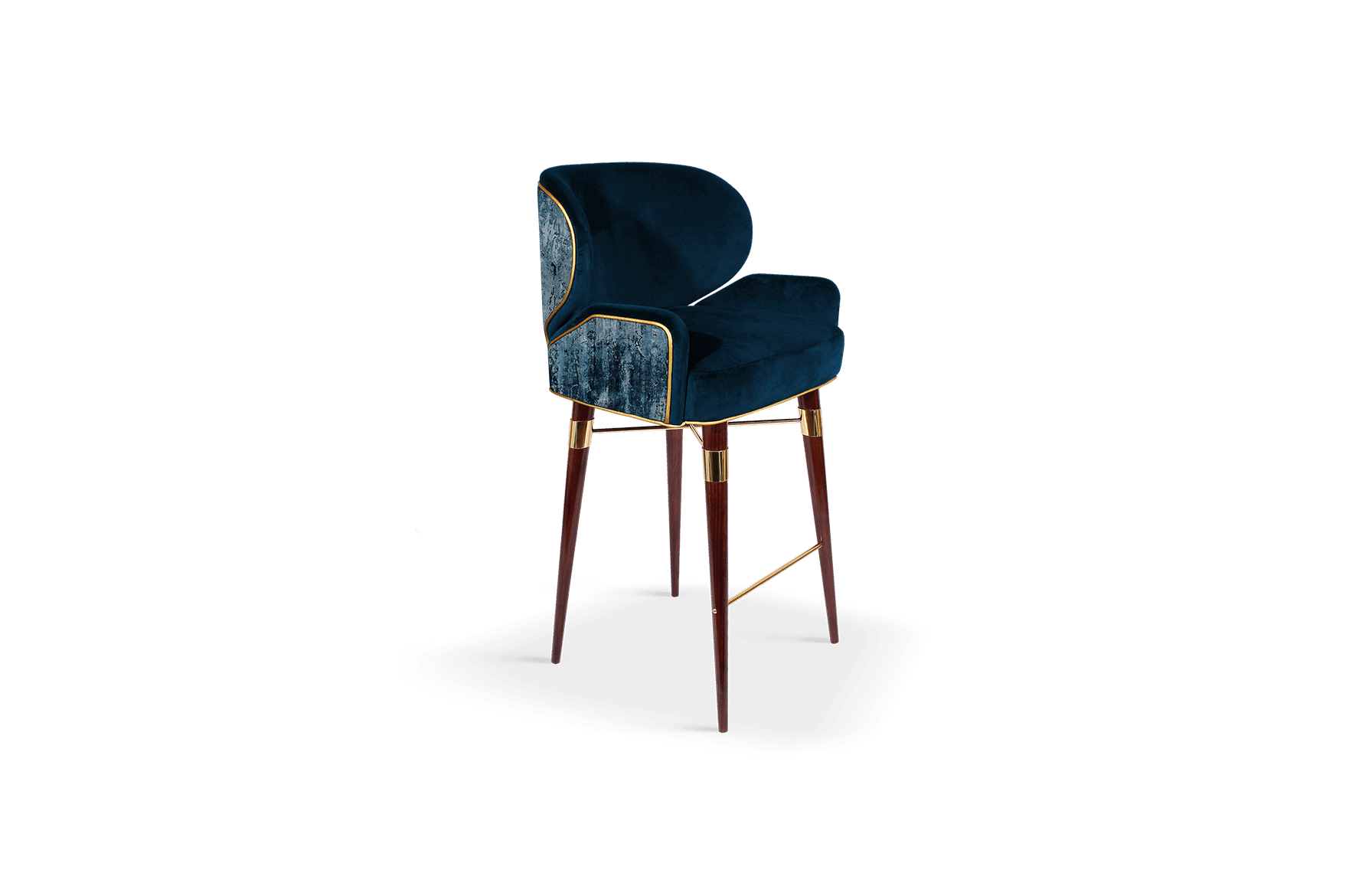 Louis I Mid-Century Modern Bar Chair in blue cotton velted and gold pipping