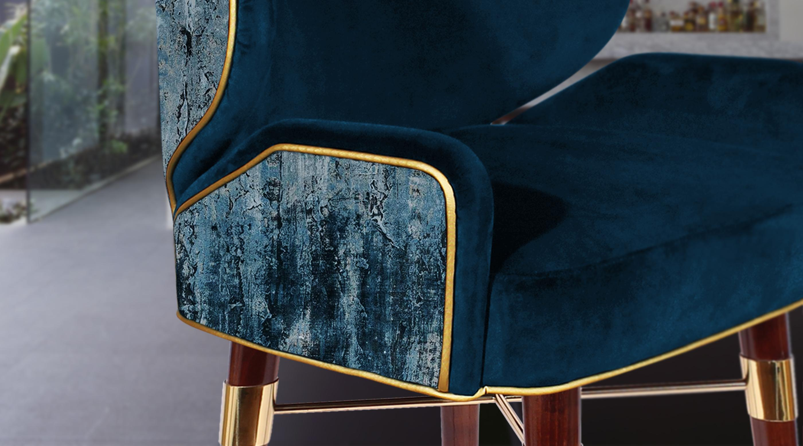 Louis I Mid-Century Bar Chair Ambience in blue cotton velted and gold pipping