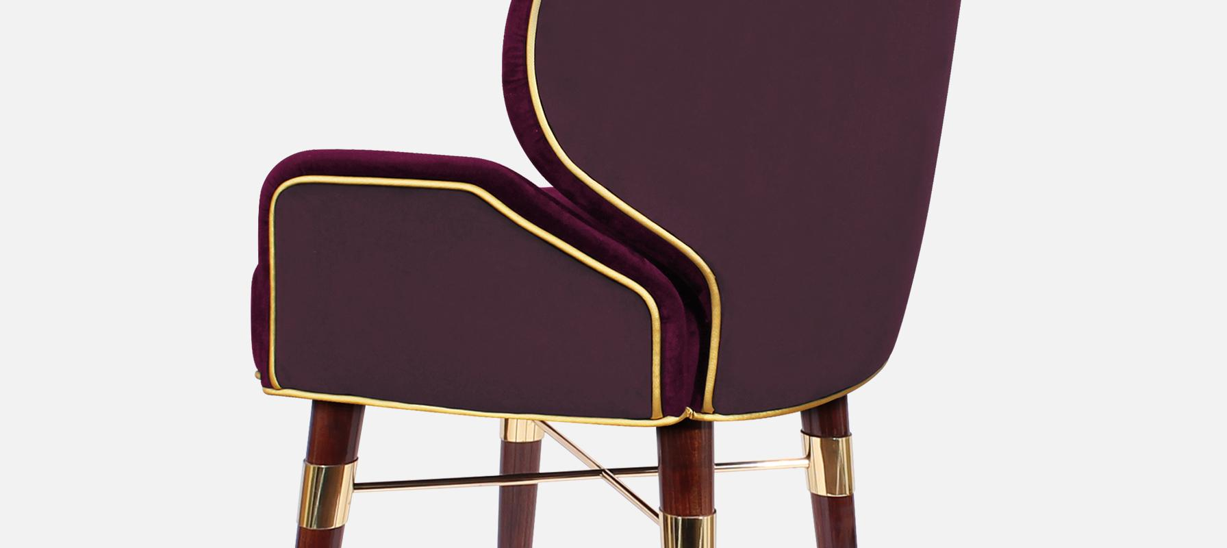 Louis I Mid-Century Bar Chair detail in red cotton velted and gold pipping