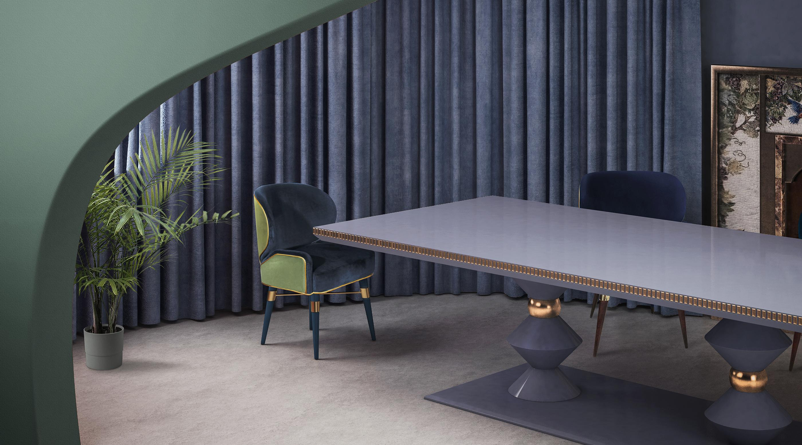 Louis I Mid-Century Dining Chair in green and blue velvet