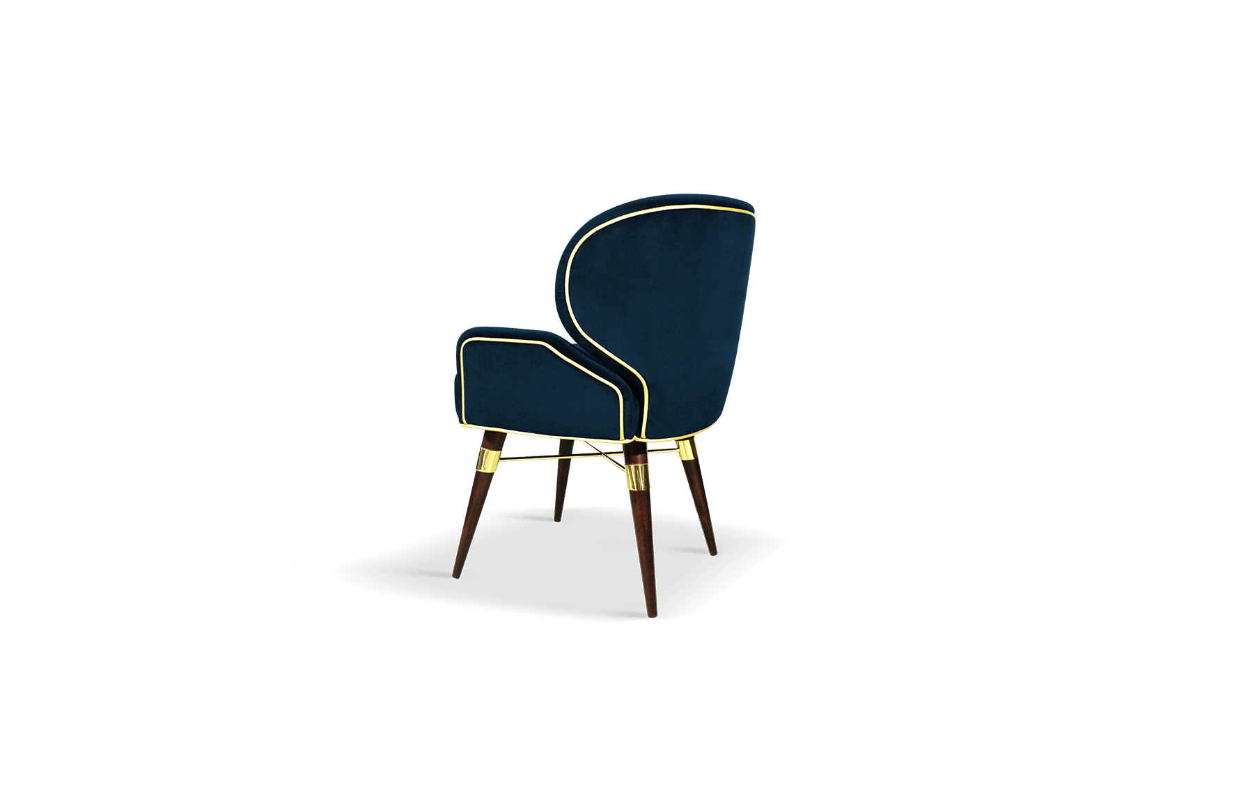 Louis I Mid-Century Dining Chair in classic blue velvet with gold piping