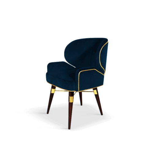 Louis I Mid-Century Dining Chair in blue velvet with gold piping