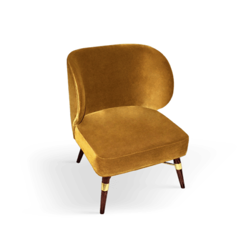 Louis Mid-Century Modern Armchair in yellow cotton velvet